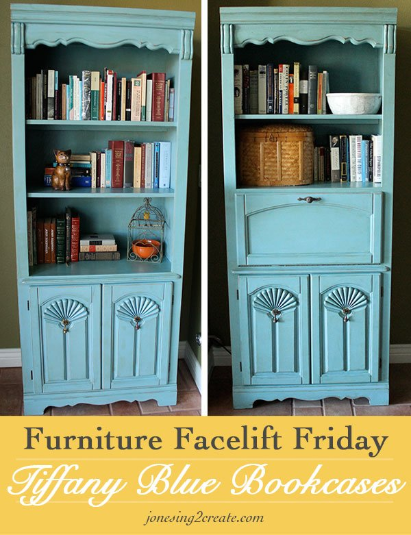 tiffany blue bookcases