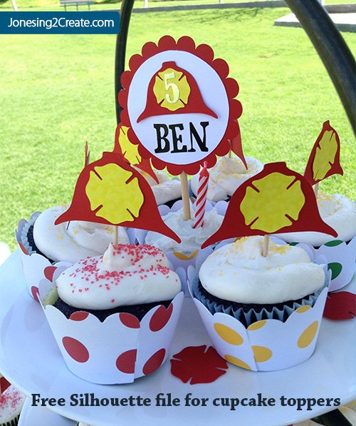 Firefighter Cupcake Topper