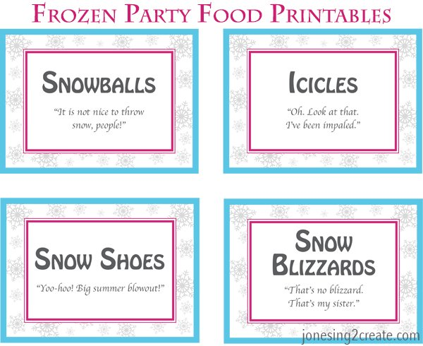graphic relating to Frozen Party Food Labels Free Printable called Frozen birthday social gathering food stuff - Jonesing2Generate