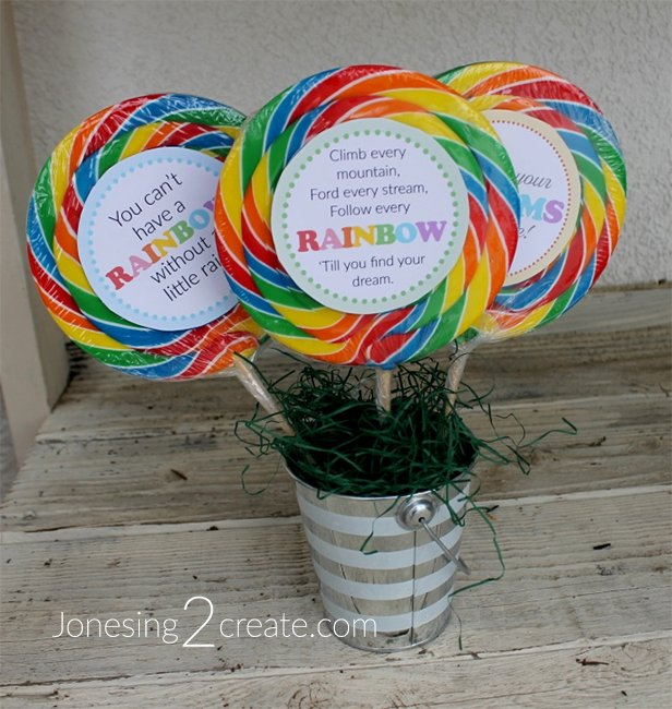 Birthday Party Rainbow Lollipop Printables