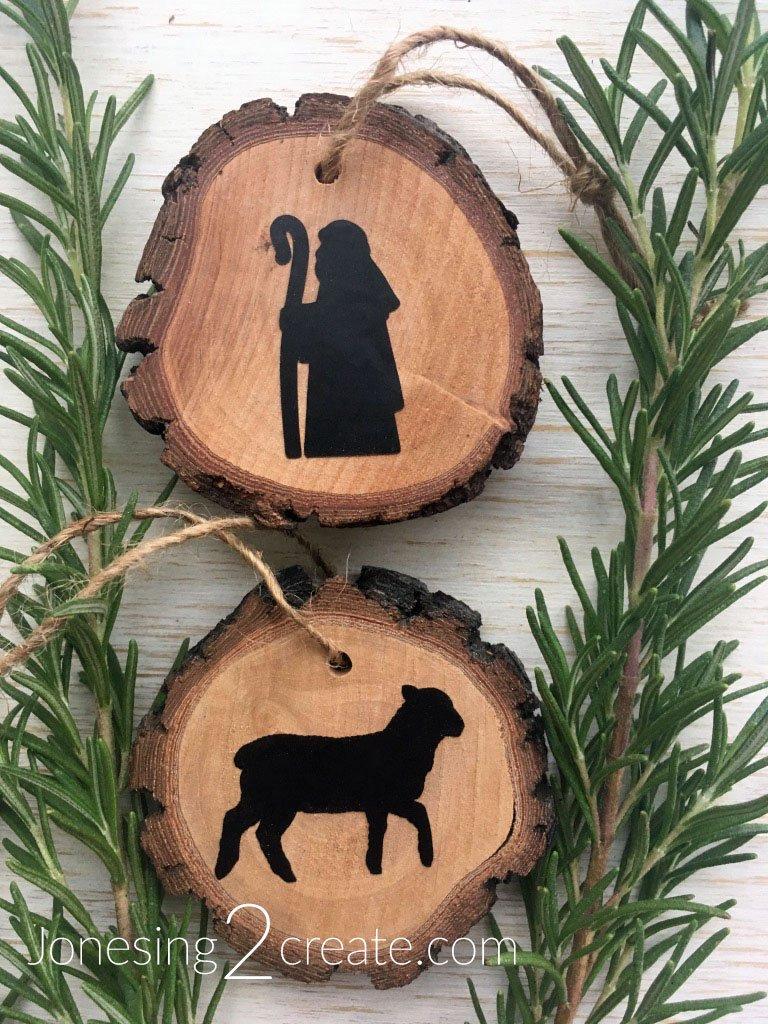 Lamb and Shepherd Wood Slice Ornament
