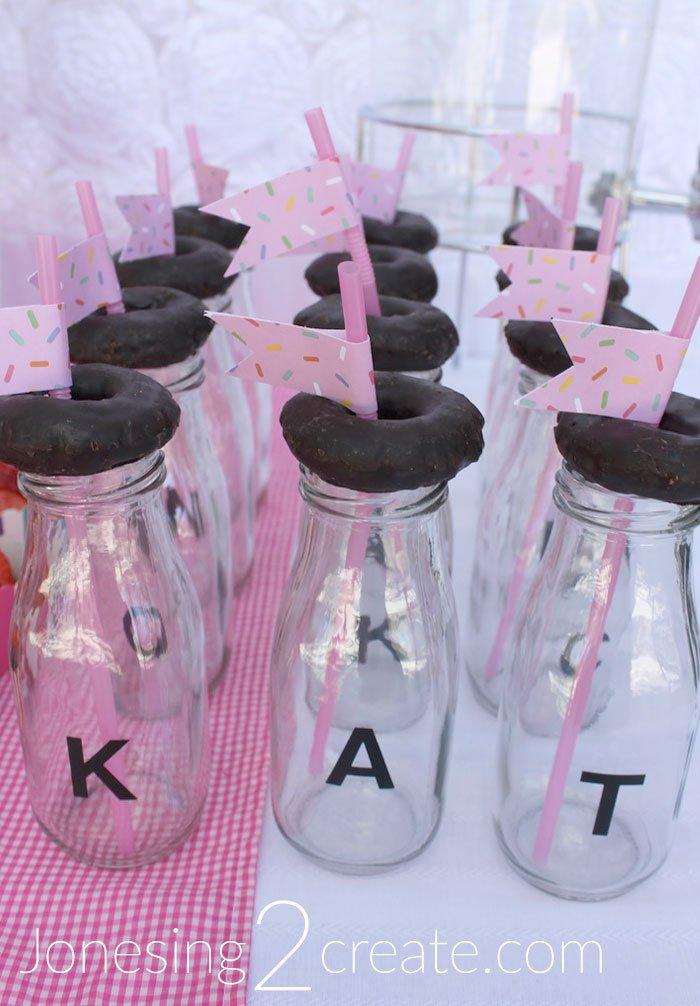 Milk Bottles with mini donut