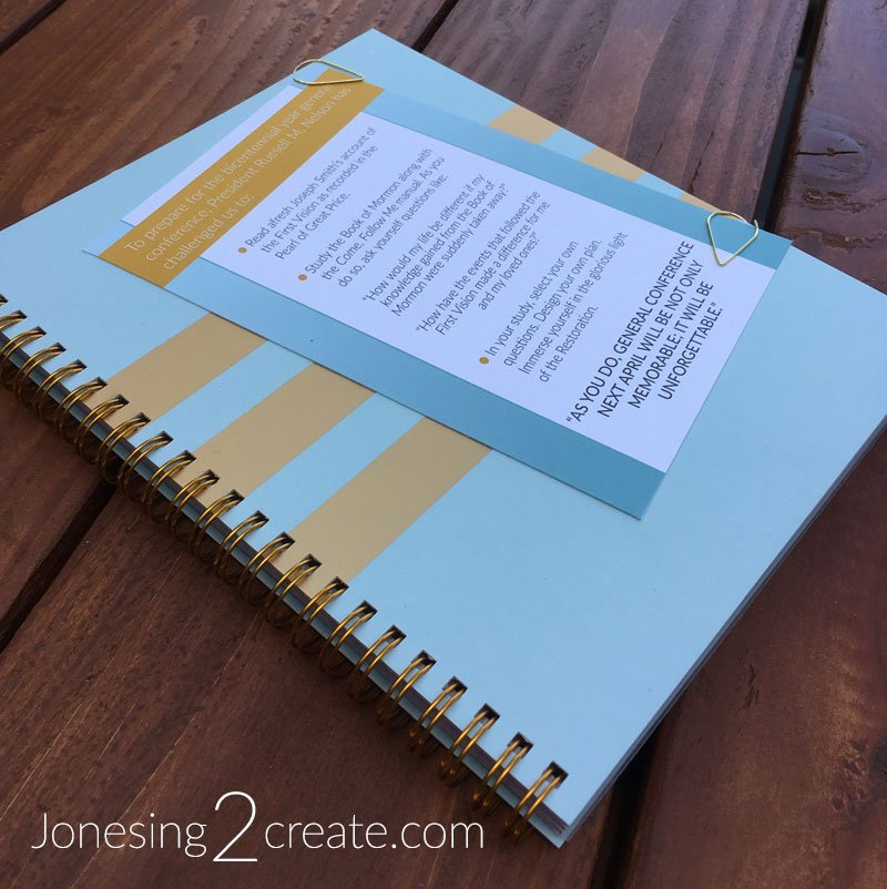 President Nelson's first vision general conference challenge notebook