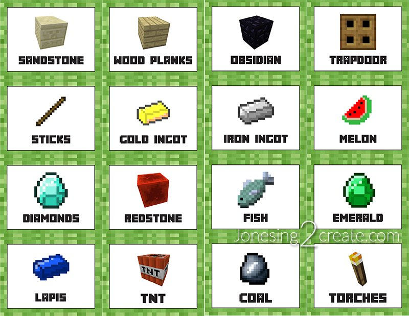 It is a graphic of Superb Minecraft Birthday Food Labels