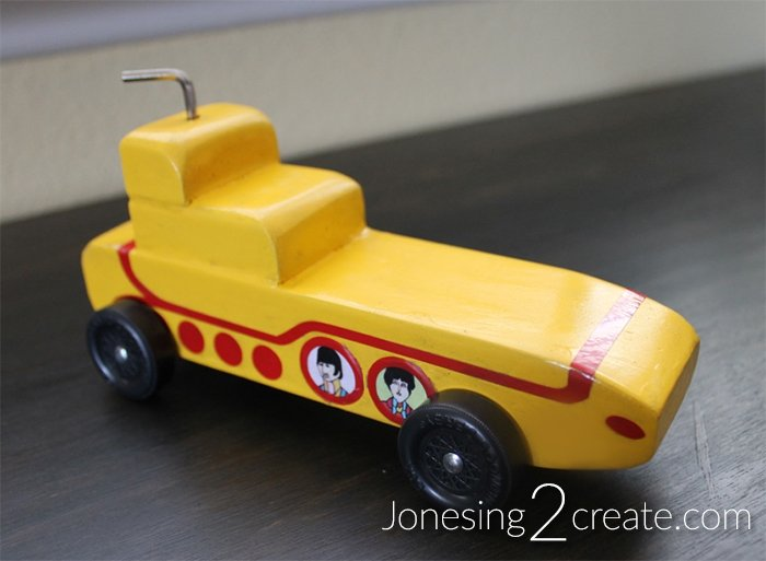 Yellow Submarine Pinewood Derby Car Front