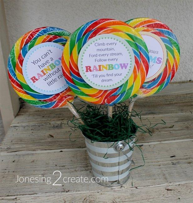 Birthday Party Rainbow Lollipop Printables