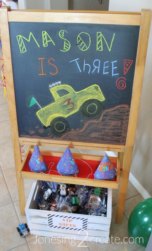 Monster Truck Chalkboard Sign