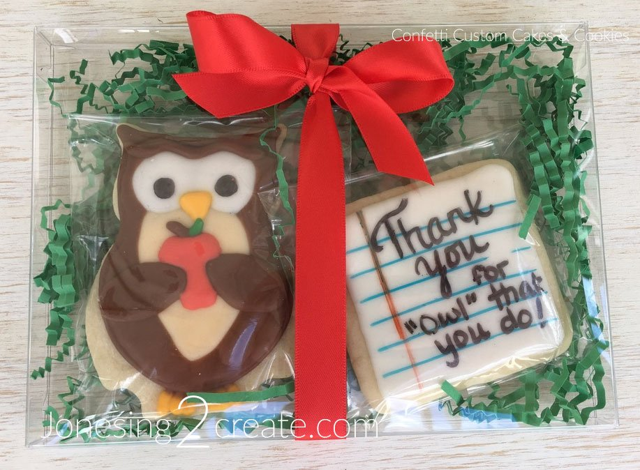 Owl Teacher Appreciation Sugar Cookie width=