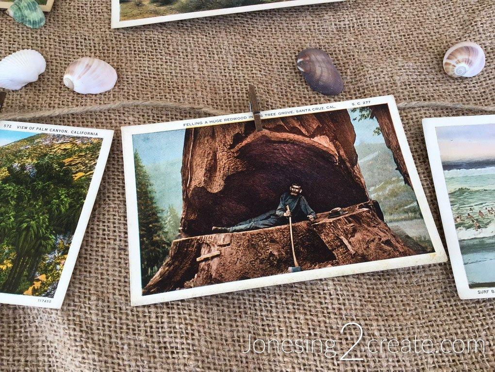 California Vintage Postcard Garland