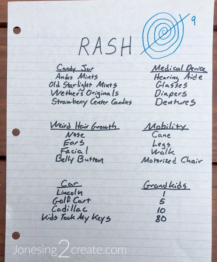 R.A.S.H. - Over-the-Hill Party Game - Setting up the board