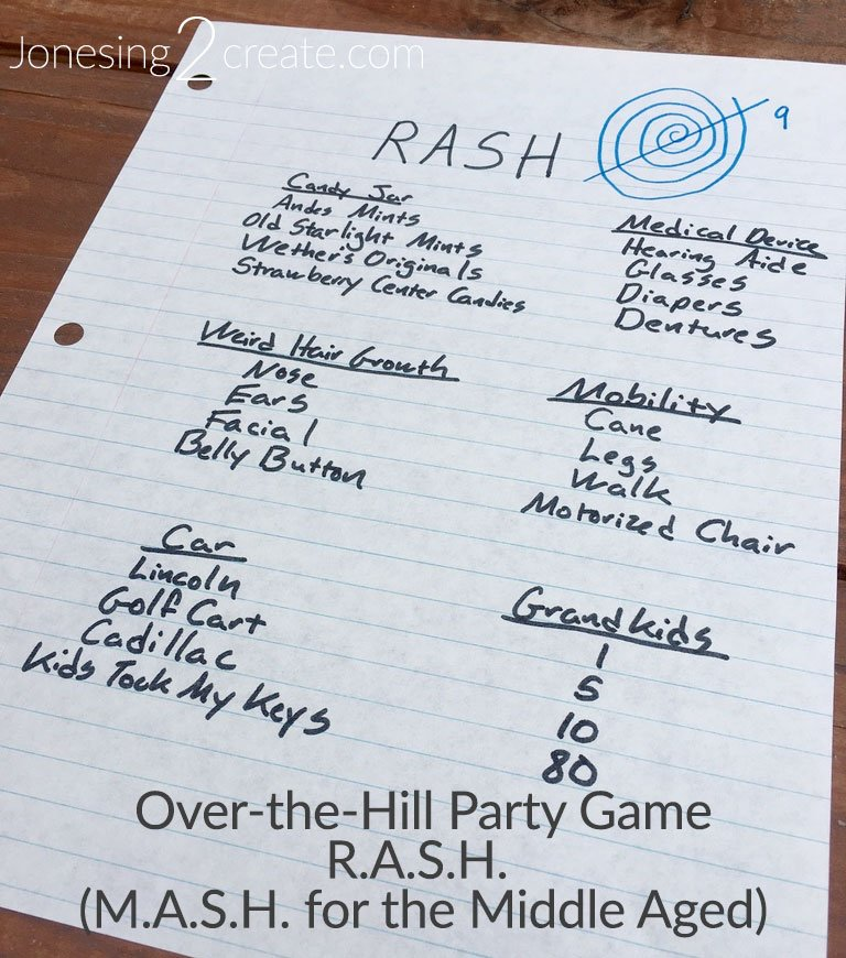 Over-the-Hill Party Game