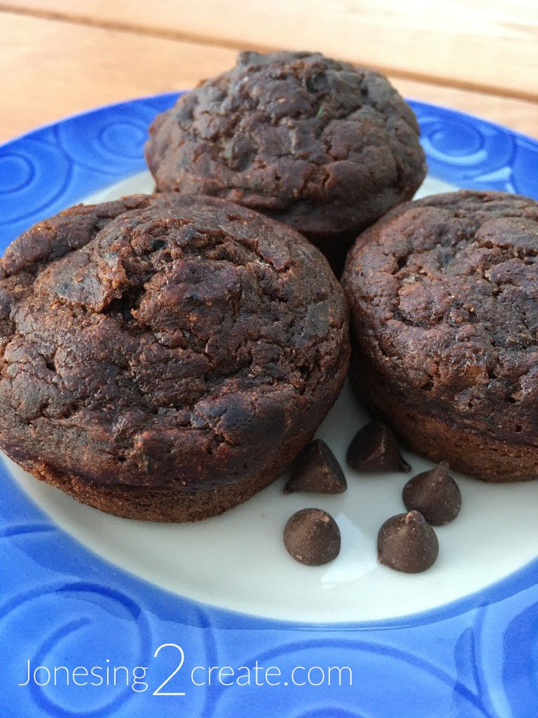 Zucchini and Banana Chocolate Muffins