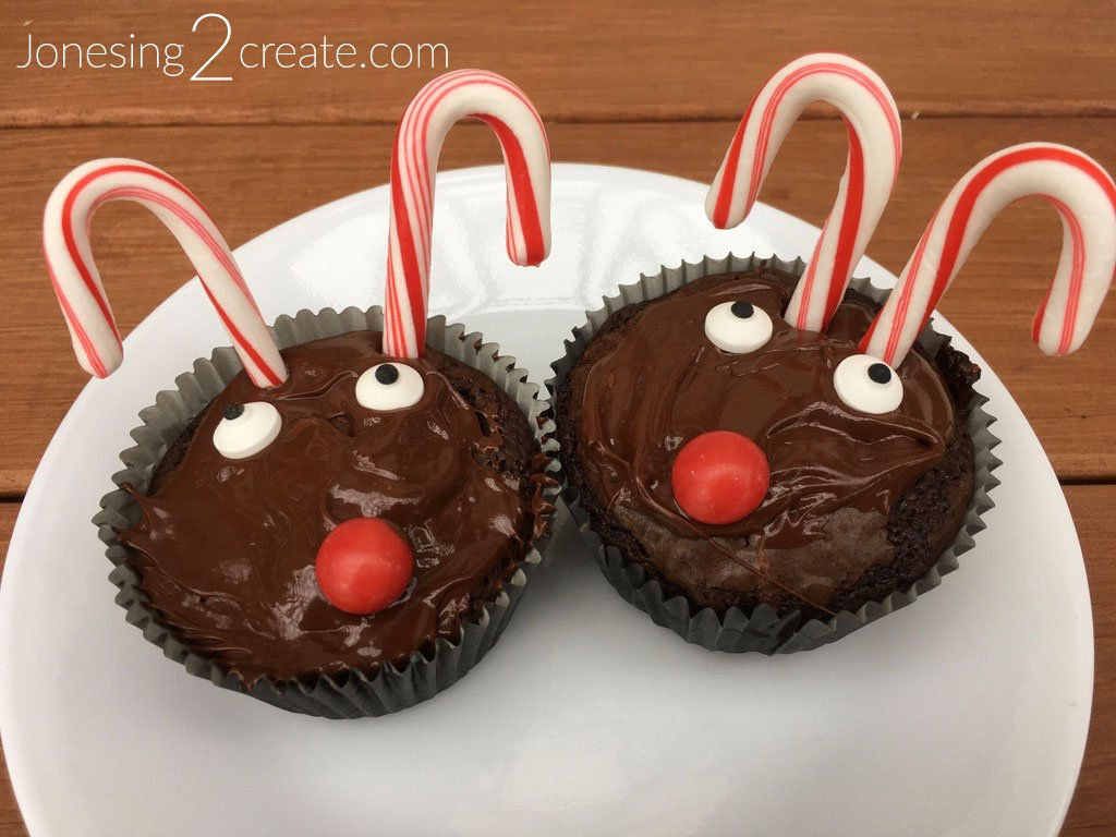 Reindeer Brownie Cupcakes With Candy Canes